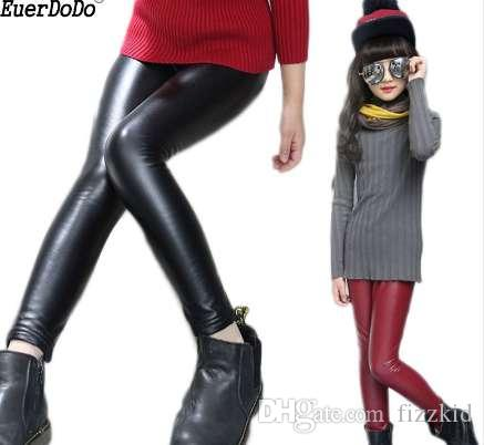 PU Mädchen Leggings Frühling Herbst Leggings Für Mädchen Kinder Leder Dünne Hosen Kinder Leggins Teenagerhose 8 10 12 Jahre