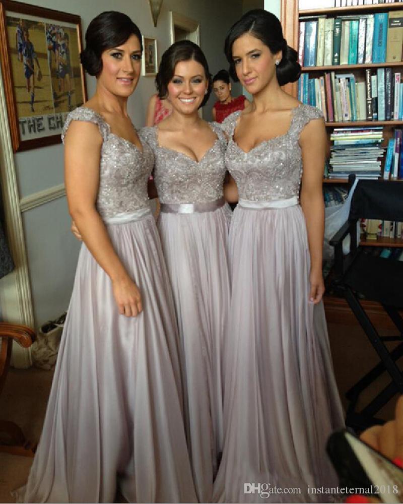 Silver chiffon lace Custom made 2018 New Big Discount cap sleeve long Bridesmaid Dresses formal dresses with ribbon