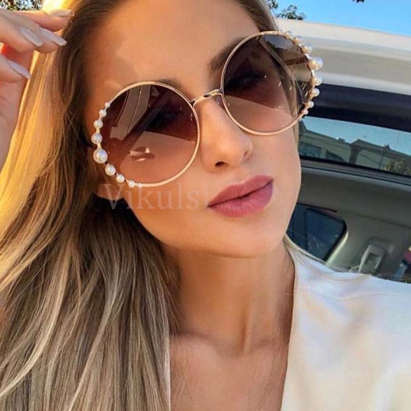 Gafas de sol de gran tamaño Gafas de sol redondas Las mujeres gato de la manera perla de las gafas de sol ojo de la vendimia Puntos marco de metal