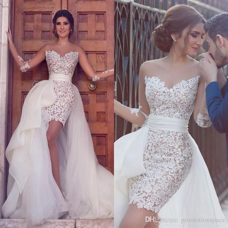 Baratos Tulle destacáveis Trem vestidos de casamento 2020 Sexy Sheer mangas compridas Jewel Neck vestidos Vestidos Lace noiva curto