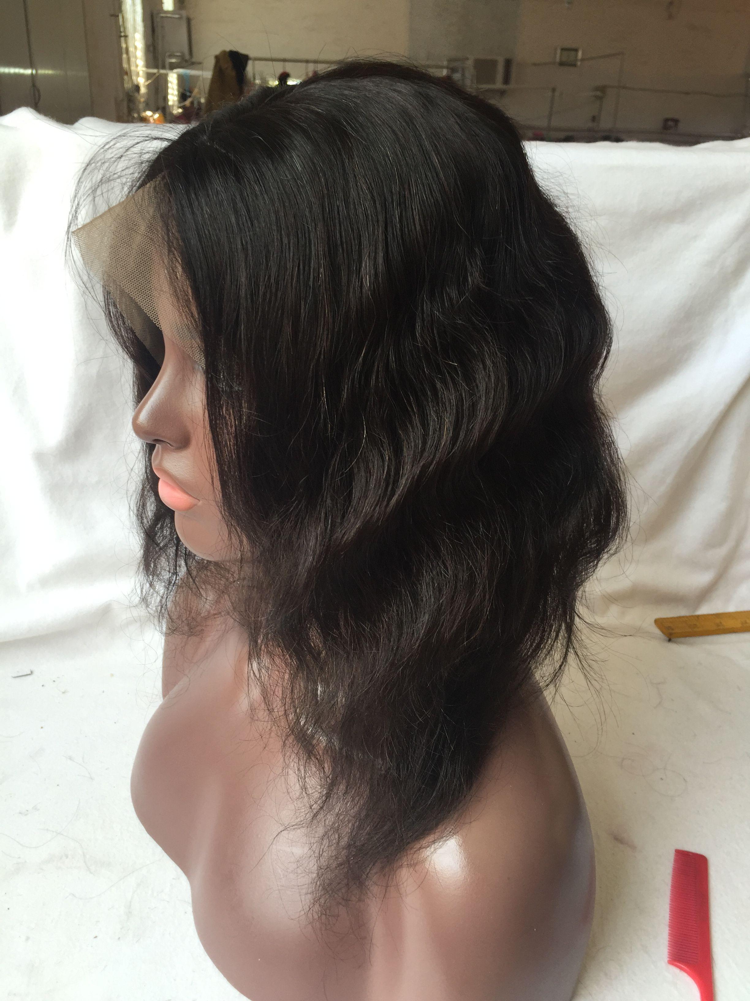 Natural wave brazilian virgin hair lace front wigs with bangs short bob wavy human hair full lace human hair wigs for black women