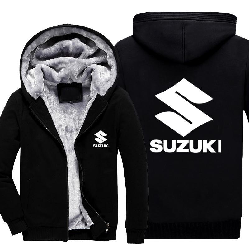 Vente en gros- Manteau d'hiver de baseball pour hommes SUZUKI Veste de moto et pulls en cachemire Zipper Hoodies Mens Veste en coton épais épais