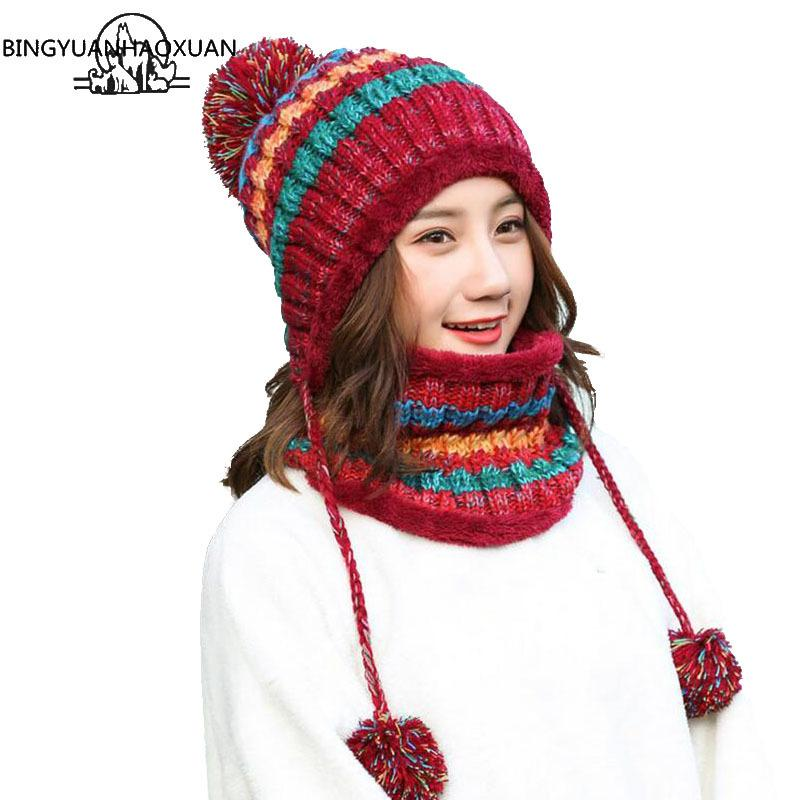 BINGYUANHAOXUAN 2017 Winter Knitted Hat Women Scarf Caps Mask Gorras Bonnet Warm Baggy Winter Hats For Girls Skullies Beanies S18101708