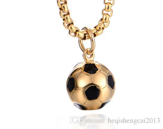 Горячие новые титановые стали мужские футбольные кулоны моды личности футбольное ожерелье может дать поклонникам подарок на день рождения популярных продаж моды