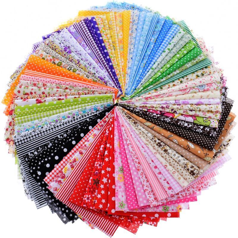 Tissu de coton mince aléatoire Patchwork pour la couture Scrapbooking Quartiers de graisse Tissu Couette de tissu Scraps à aiguilles 80pcs 20x24cm