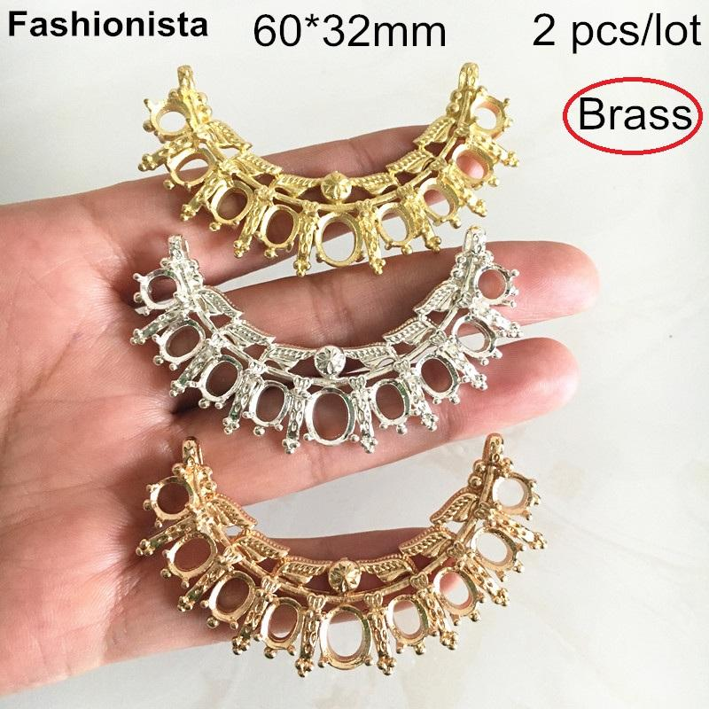 Fashionista - 2 pcs Raw Brass Casting Crafts Jewelry Connectors With Cabochon Base Settings,60*32mm DIY Jewelry Supplies