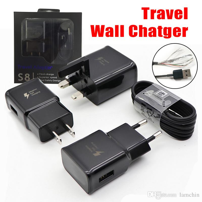 2 in 1 Wall Charger Adapter Fast Charging Travel Wall Chargers +1.2M Micro USB Data Cable for Samsung Galaxy S7 S8 with Retail Package
