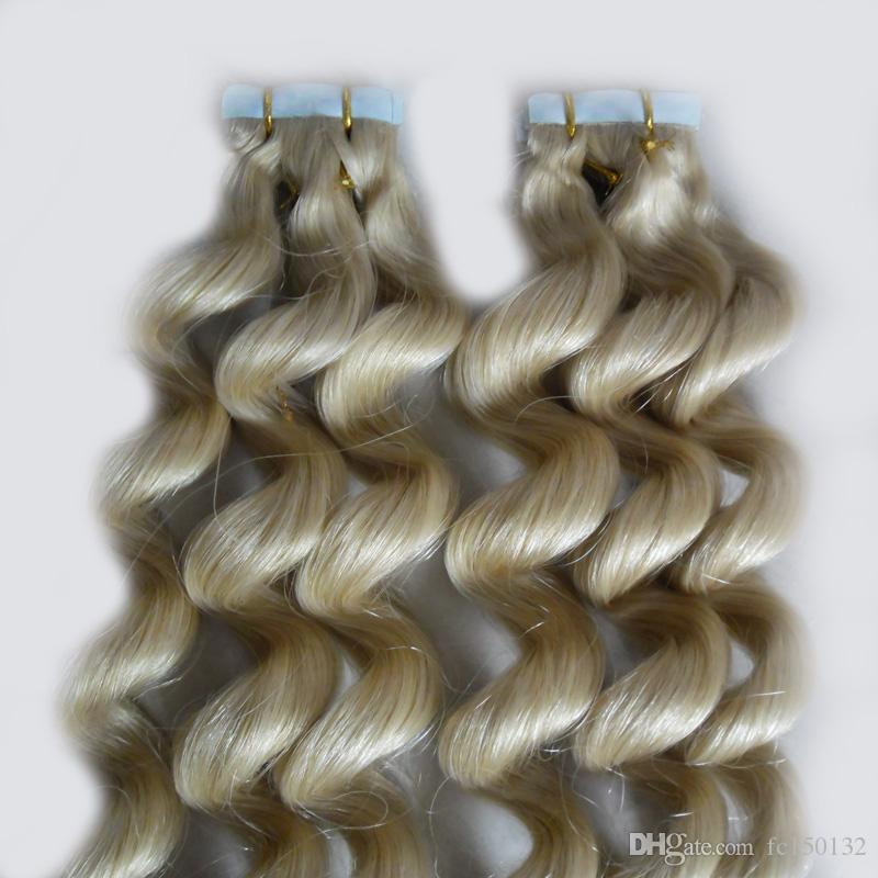 """Brasilianisches loses Wellen-Haar-Band in den menschlichen Haarverlängerungen 12 """"14"""" 16 """"18"""" 20 """"22"""" 24 """"100g 40pcs Haut-Schuss blonde Bandhaarverlängerungen"""