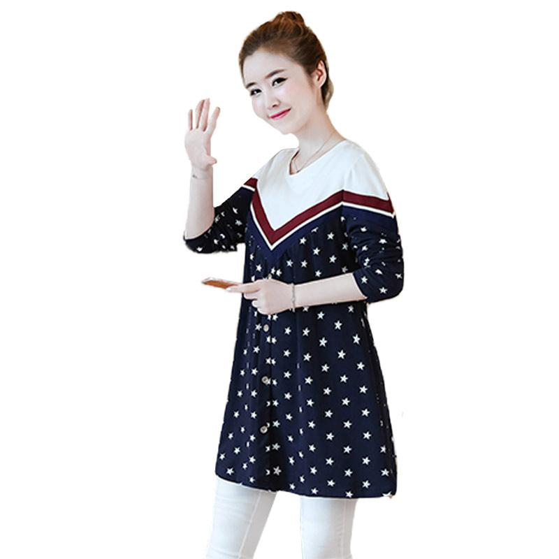 Camisa de maternidad de la moda de otoño Tops sueltas de manga larga Ropa para mujeres embarazadas Patchwork suelta túnica de embarazo