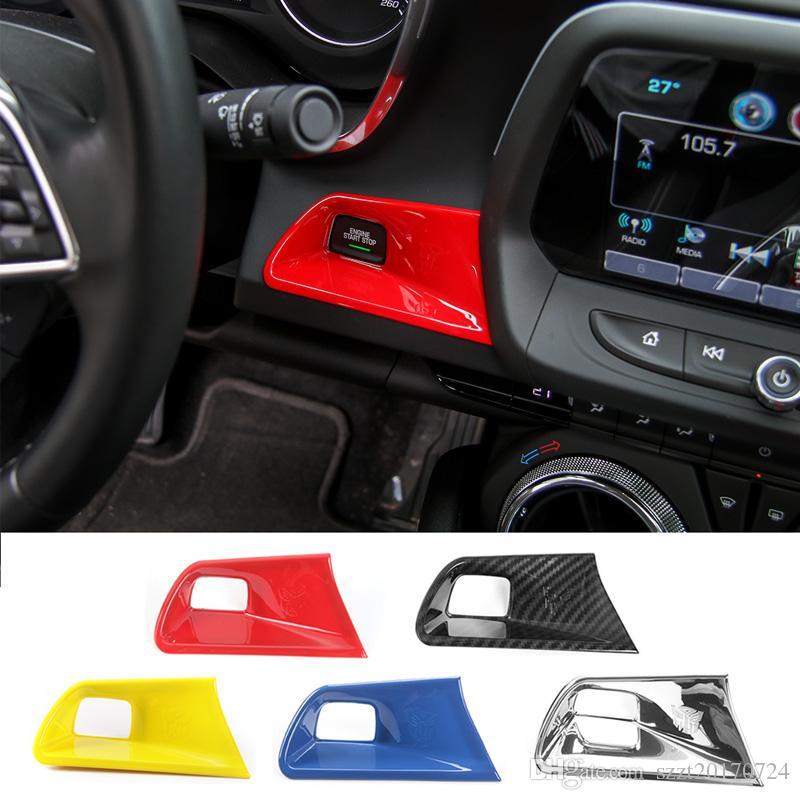 ABS motor clave Start Stop botón Recortar la decoración de la cubierta para el Chevrolet Camaro 2017 Hasta coche que labra los accesorios interiores