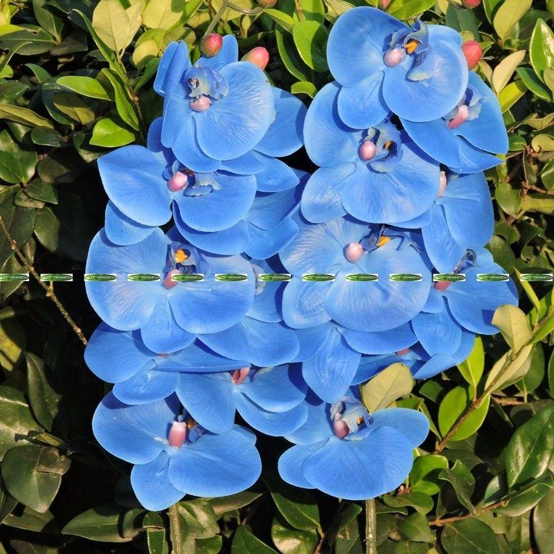 اللاتكس النسيج 4 قطع الاصطناعي فراشة الأوركيد زهرة الزفاف ديكور المنزل لا زهرية الأزرق الأرجواني فلوريس دي artificiais
