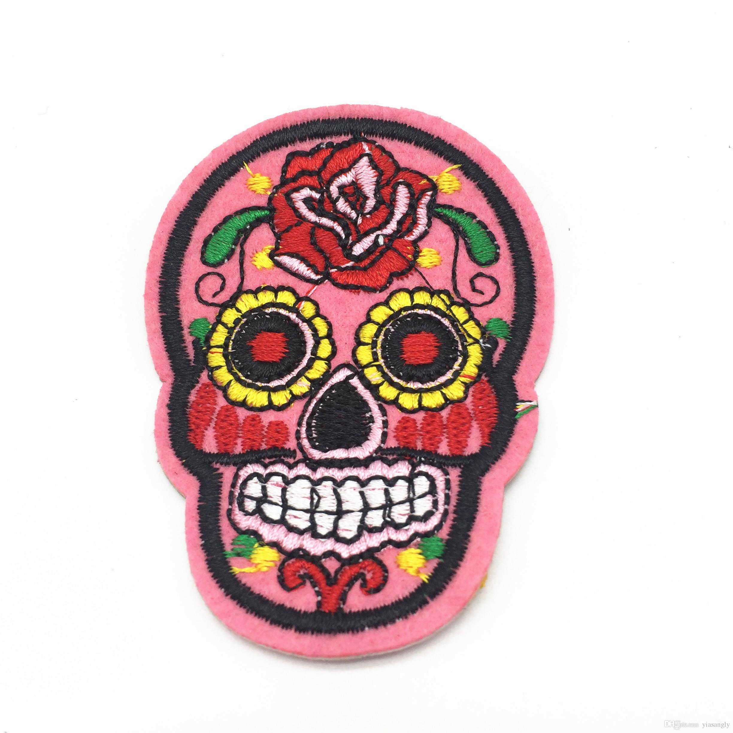 20pcs Pink Skull Clothes Patch DIY Skeleton Embroidered Patches Iron On Fabric Badges Sew On Cloth Stickers