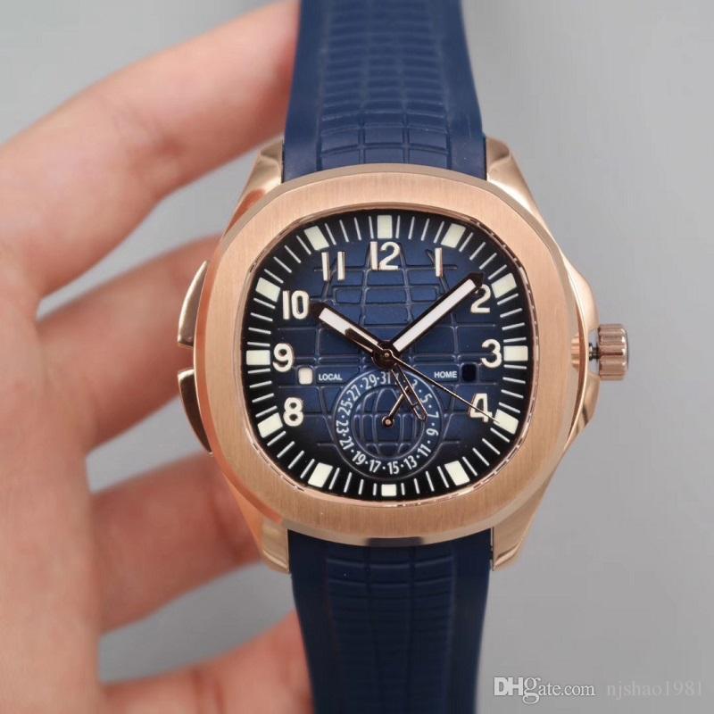 최고의 품질 남성 시계보기 골드 자동 운동 스테인레스 스틸 케이스 편안한 스트랩 손목 시계