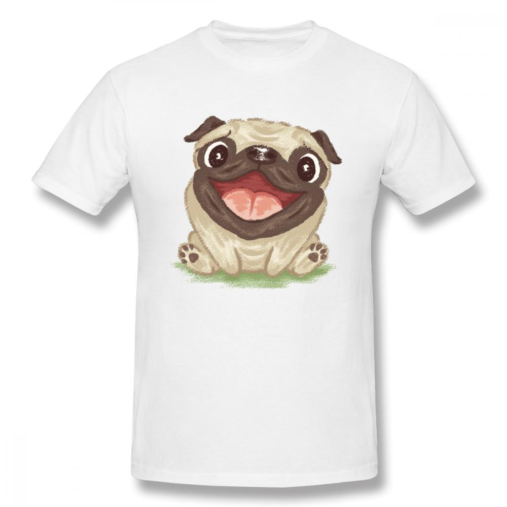 Cute Happy Pug T Shirt For Boy Noveltyboy Round Neck Homme Tee Shirt