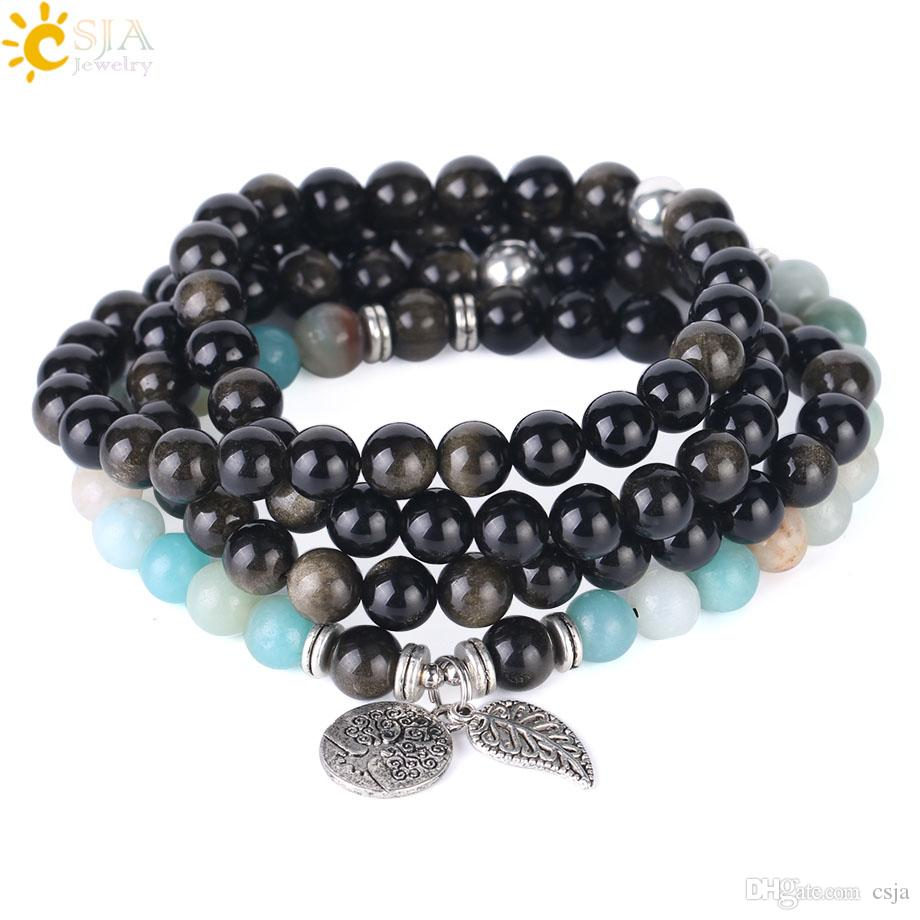 CSJA Gold Obsidian Beaded Bracelet Amazonite Multiple Layer Natural Stone Gem Jewellery 108 Mala Beads Strand Bracelets Fast Shipping F405