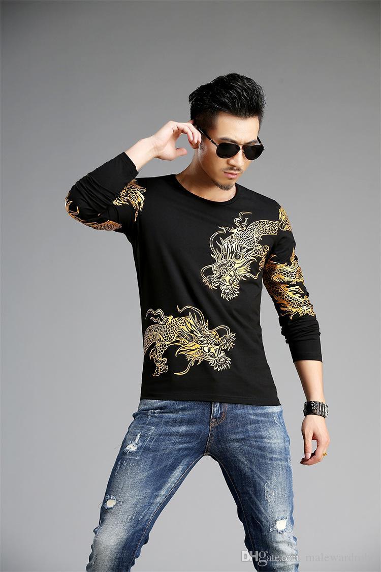 Top in Lycra Uomo Autunno Bottoming Dragon Ricamo Luxury Magliette a maniche lunghe