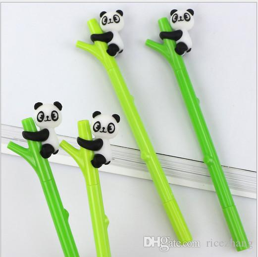 Best selling gel pen wholesale 100pcs\Lot free shipping Korean cute cartoon panda plastic neutral pen creative bamboo fountain pen197