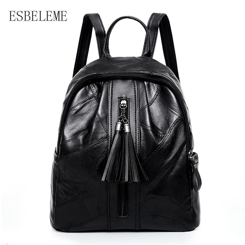 Genuine Leather Women Backpacks for Female Black Sheepskin Shoulders Bag Girls Preppy Style Zipper Shoulder Package YH115