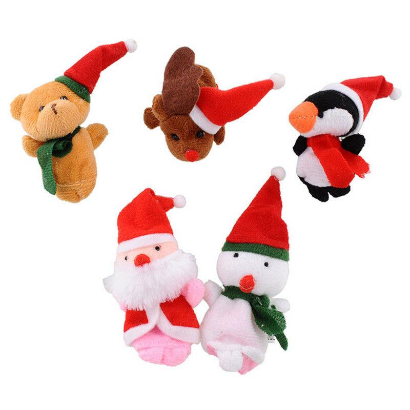 pudcoco Cute Family Finger Puppets Christmas Cloth Doll Baby Educational Hand Puppet Mini Fantoche Animal Plush Toy Sets
