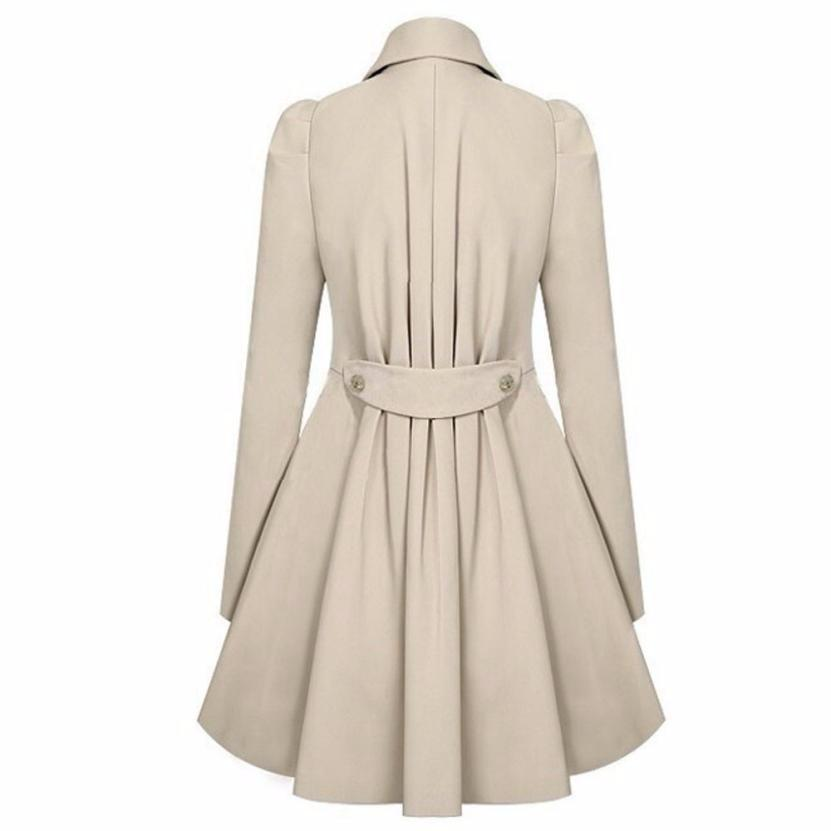 5f3d001f5aa FEITONG Autumn Winter Trench Coat for Women Adjustable Waist Slim Solid  Black Coat White Long Trench