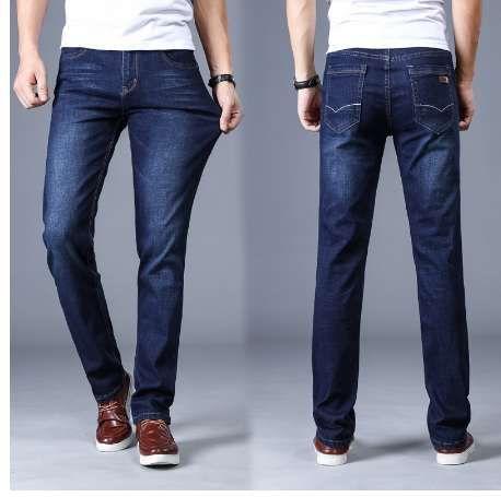 Jeans clásicos de los hombres de la marca de gran tamaño Pantalon recto Homme Jean Slim Angustiados diseño de los pantalones de motorista negro barato Regular
