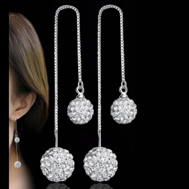 Basit Rhinestones kolye Taşlı Damla Küpe Gümüş Kaplama Uzun Püskül Kulak Zincir Hattı Swarovski itibaren kristalleri Süslenmiş