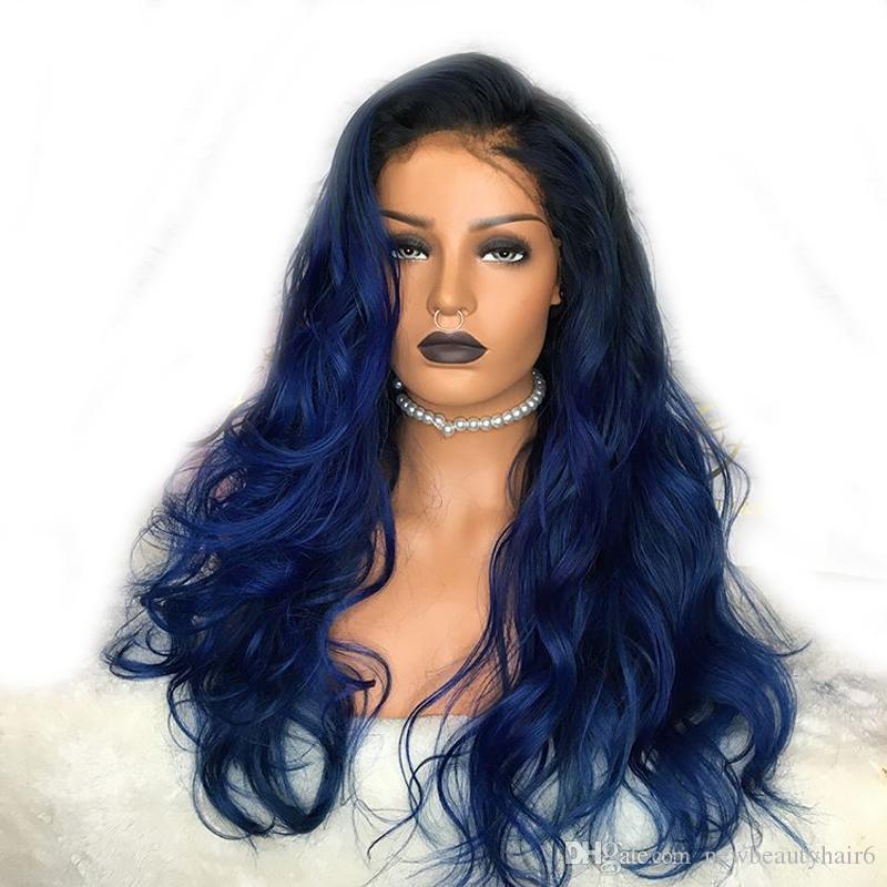 Боковая часть синий синтетический парик фронта шнурка 180 высокой плотности Glueless Ombre парик теплостойкость для чернокожих женщин бесплатно ОТГРУЗОЧНЫХ