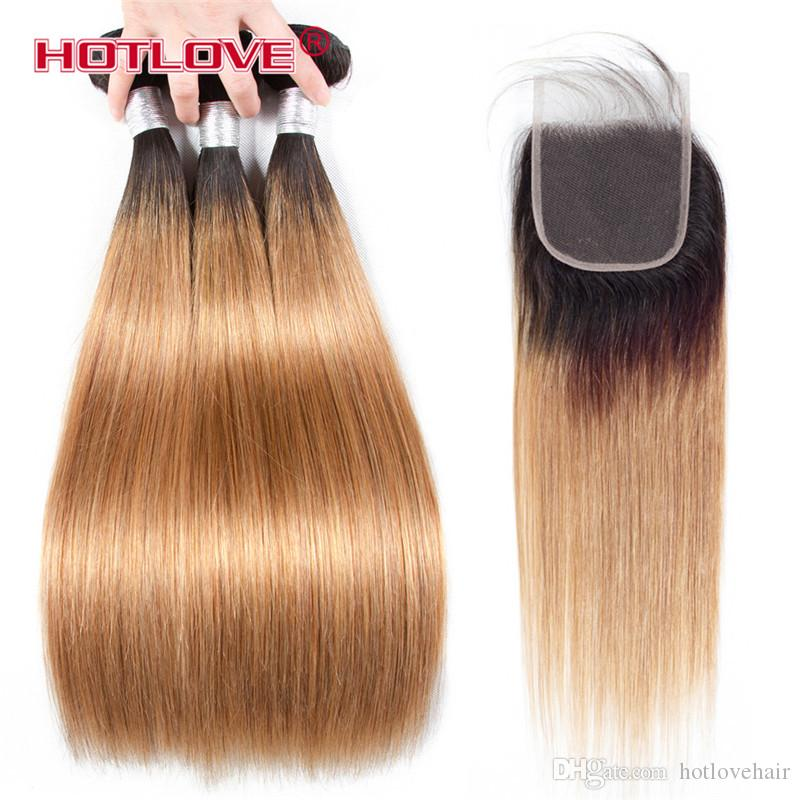 Brazilian Straight Hair Human Hair Weave Bundles with Closure 4PCs/Lot Ombre Two Tone Pre-Coloed Honey Blonde Burgundy Red Brown Hotlove