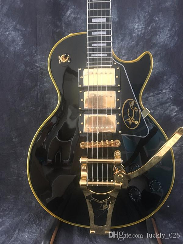 Free Shipping 2018 Manufacturer sales Custom Paul Black 3 Pickups Golden Hardware Electric Guitar with guitars guitarra