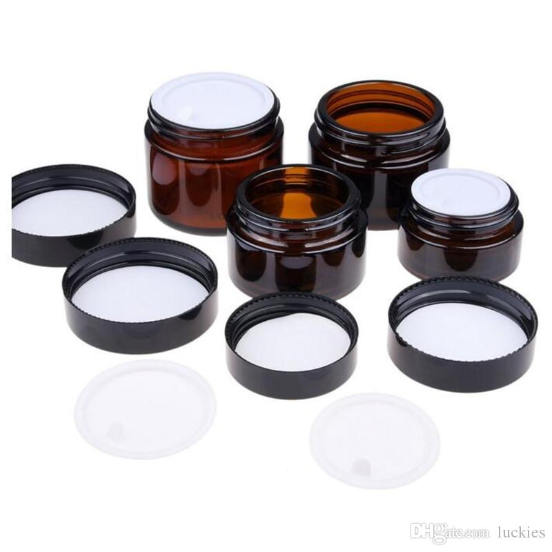 5g 10g 15g 20g 30g 50g Amber Glass Jar Pot cosmetic Cream jar Cosmetic Bottle Makeup Container with Black Lid 042