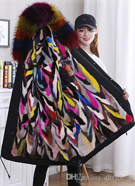 Pelliccia di procione multicolore rifiniture da donna cappotti invernali irregolari Cuciture multicolor mane fodera in pelliccia nera Parkas lunghi Fodera rimovibile