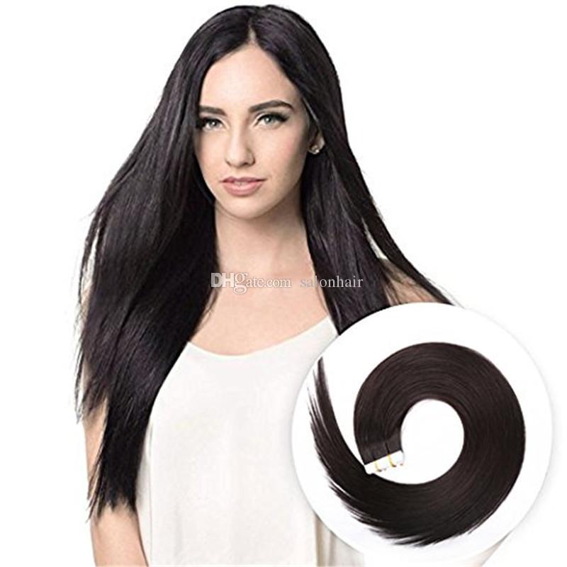 머리카락 확장에 테이프 자연 블랙 컬러 1B 실키 스트레이트 레미 헤어 헤어 익스텐션 20pcs 50g