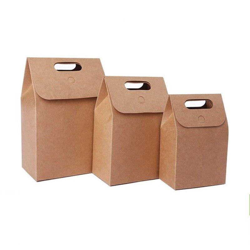Réutilisable Papier Kraft Emballage alimentaire Boîte 3 Taille cadeau Pliable bonbons cuisson sacs thé bricolage fruits secs Sac à main Durable Simple 1 2HQ BB