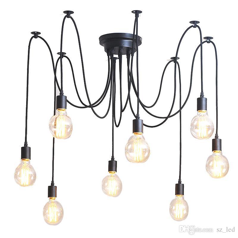 3/5/6/0/10/12/14 Światła Retro Edison Bulb Wisiorek Loft Light Pająk Light Restauracja Warehouse Lampa wisząca AC85V-260V
