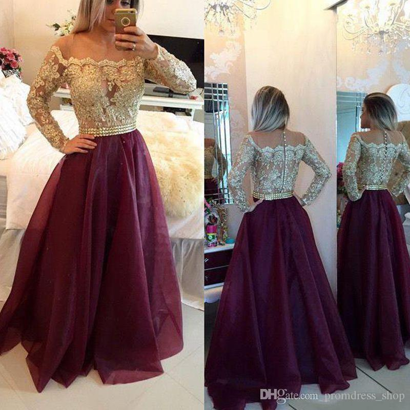 Prom Dresses 2019 Sexy New Long Sleeves Lace Gold Lace Beaded Top Organza Floor Length Prom Gowns With Buttons Vestidos De Fiesta