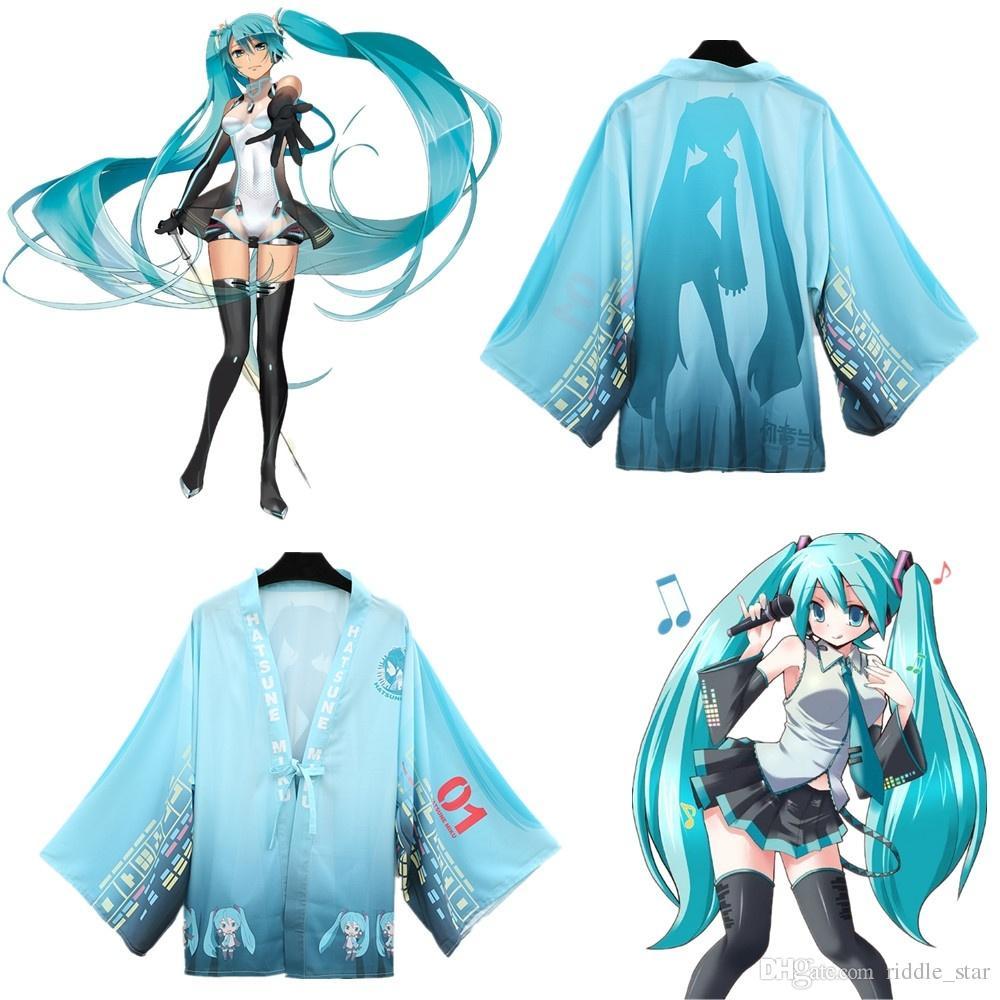 Un tamaño de Japón Anime Hatsune Miku Vocaloid azul Cosplay traje mujer Haori gasa albornoz Kimono pijamas capa capa