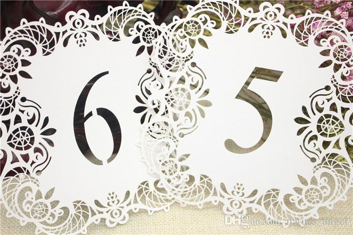 DHL 10pcs/set Wedding Table Number Table Cards Hollow Laser Cut Numbers Card Vintage Wedding Decoration Event Party Supplies Table Cards