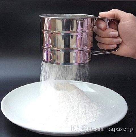 Ventes!!! Livraison gratuite en gros à la main de cuisson outil de gâteau de cuisson en acier inoxydable mécanisme de cuisson Shaker tamis tasse