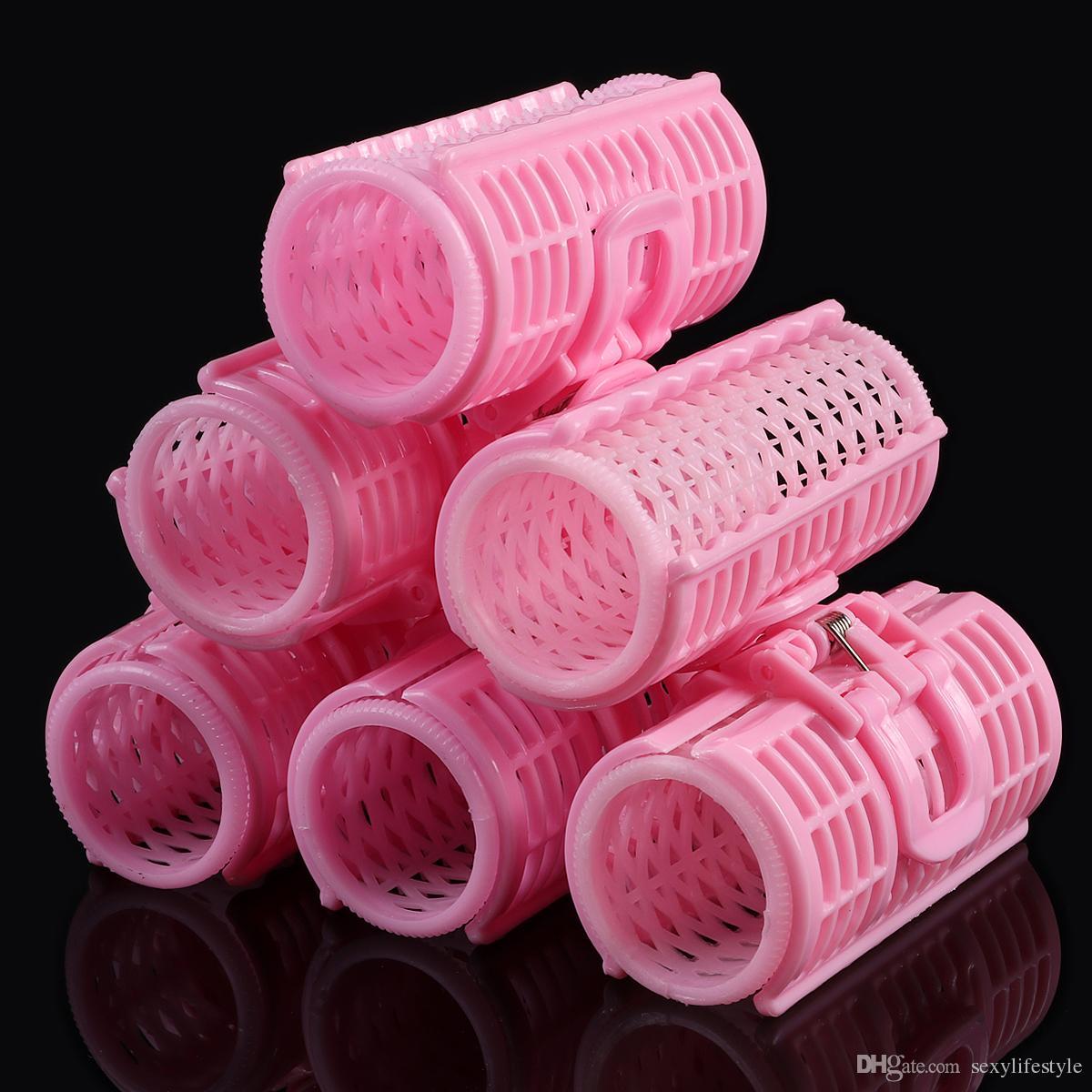 6 Unids / set Plástico Rosa Grip Cling Peluquería Rizador de Pelo Rollos de Primavera Clips Capas Dobles Rizos Uso Del Hogar DIY Herramienta de Peinado del cabello