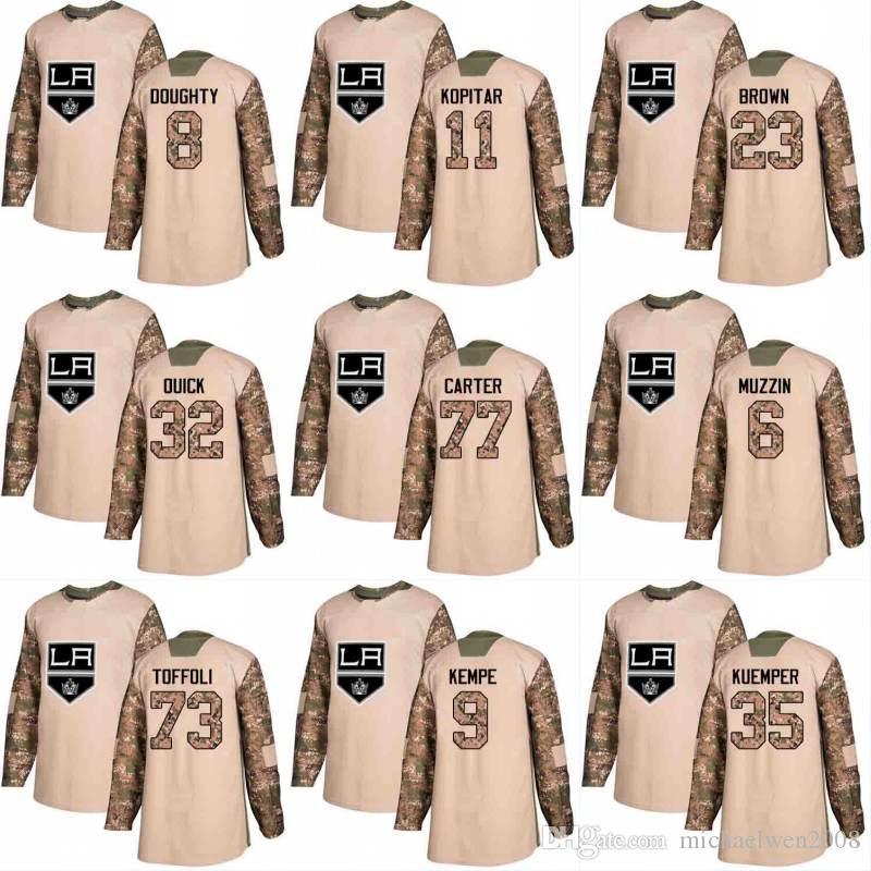 2018 Camo Veterans Day 77 Jeff Carter 15 Andy Andreoff 19 Alex Iafallo 11 Anze Kopitar Los Angeles Kings Custom Hockey Jerseys