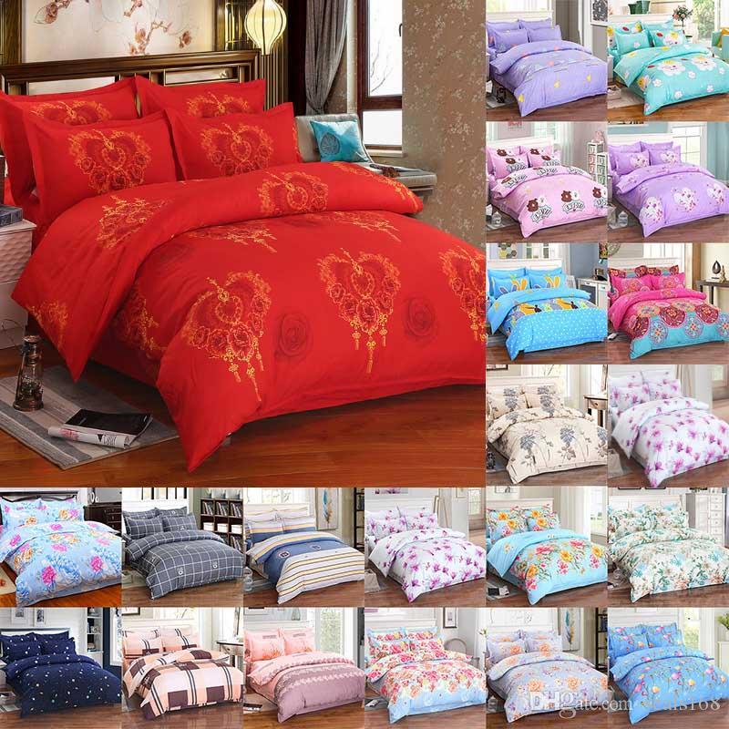 Blumen-Bettwäsche-Sets 4pcs / set Luxus-3D Printed Bettbezug Kissen- Start Bedding Supplies Weihnachtsgeschenk 29 Stil HH7-1810