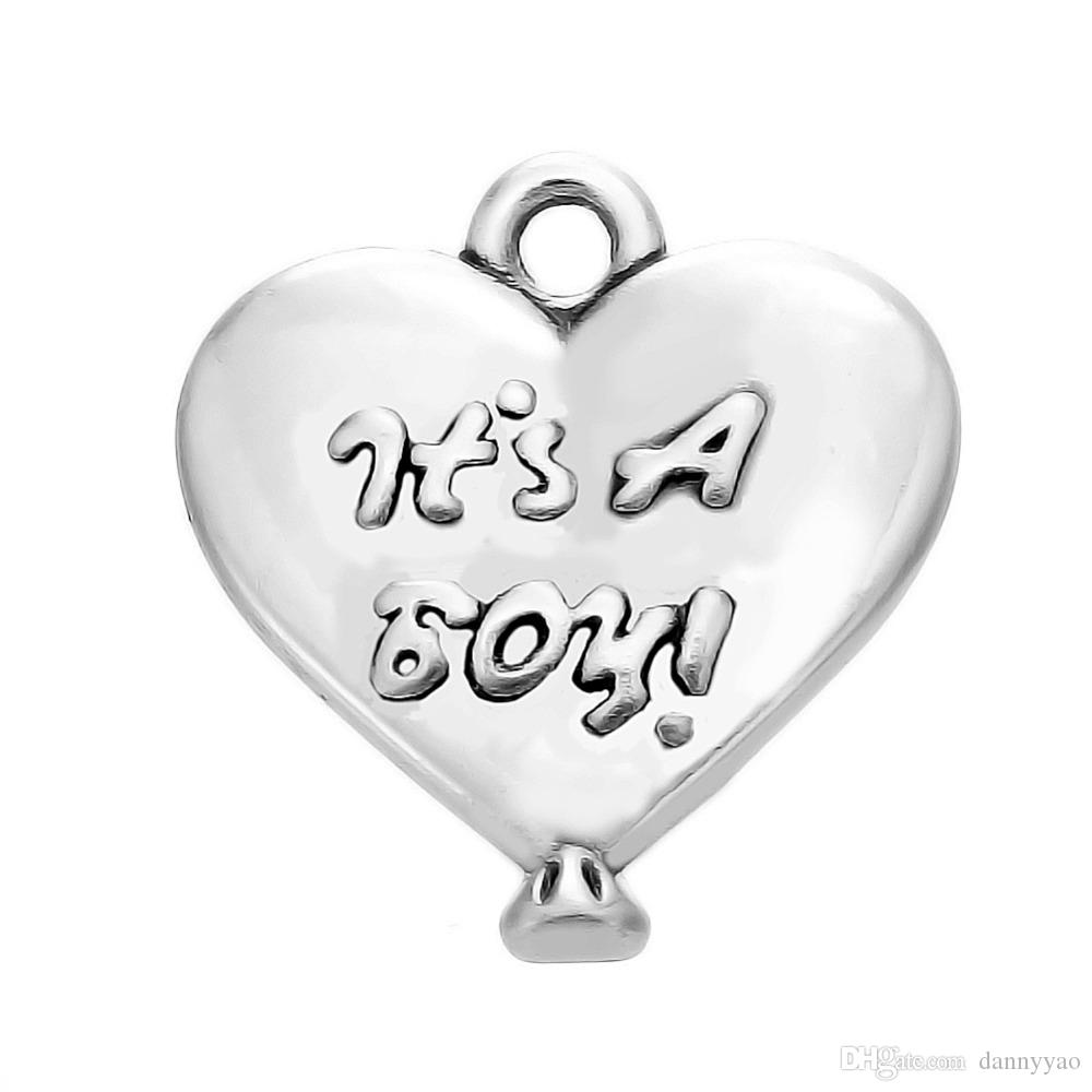 Anitque Silver Plated Heart Charms It's A Boy Raised Alloy Message Charms 15*16mm 50pcs AAC1721