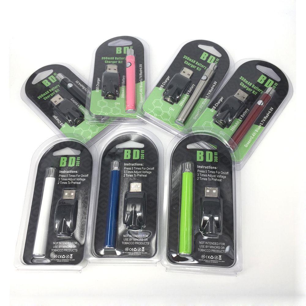7 colores LO Precaliente Batería Kit de arranque Co2 Vaporizador de aceite Voltaje variable 510 Hilo ajustable VV 350Mah Cigarrillos electrónicos Baterías