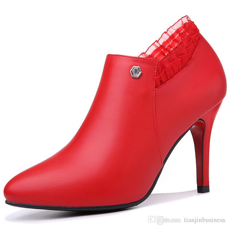 2018 Heißer Verkauf Botas Femininas Frauen Winterstiefel 8 cm High Heels Sexy Spitze Stiefeletten Dame Schuhe Schwarz Rot Schnee Stiefel