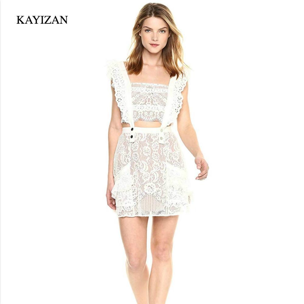 KAYIZAN Casual Summer Beach Dress Sexy Mini Polyester Dress Women Sleeveless Pocket Tati Pinafore Lace Detachable