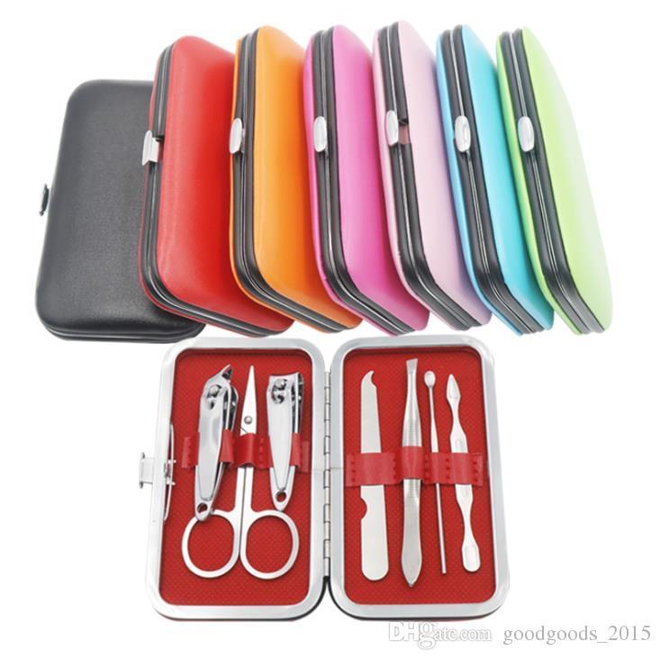 7 pcs Nail Clippers Kit Scissors Tweezer Knife Ear pick Utility Manicure Set Tools Random Colors ak074
