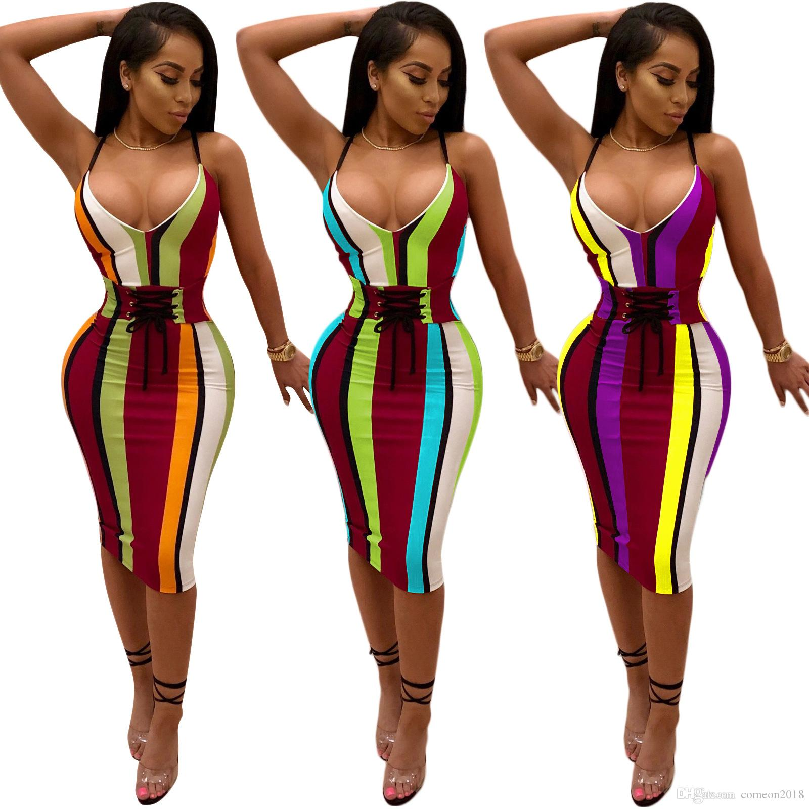 Women casual mid short colorful stripes bodycon club party  pants
