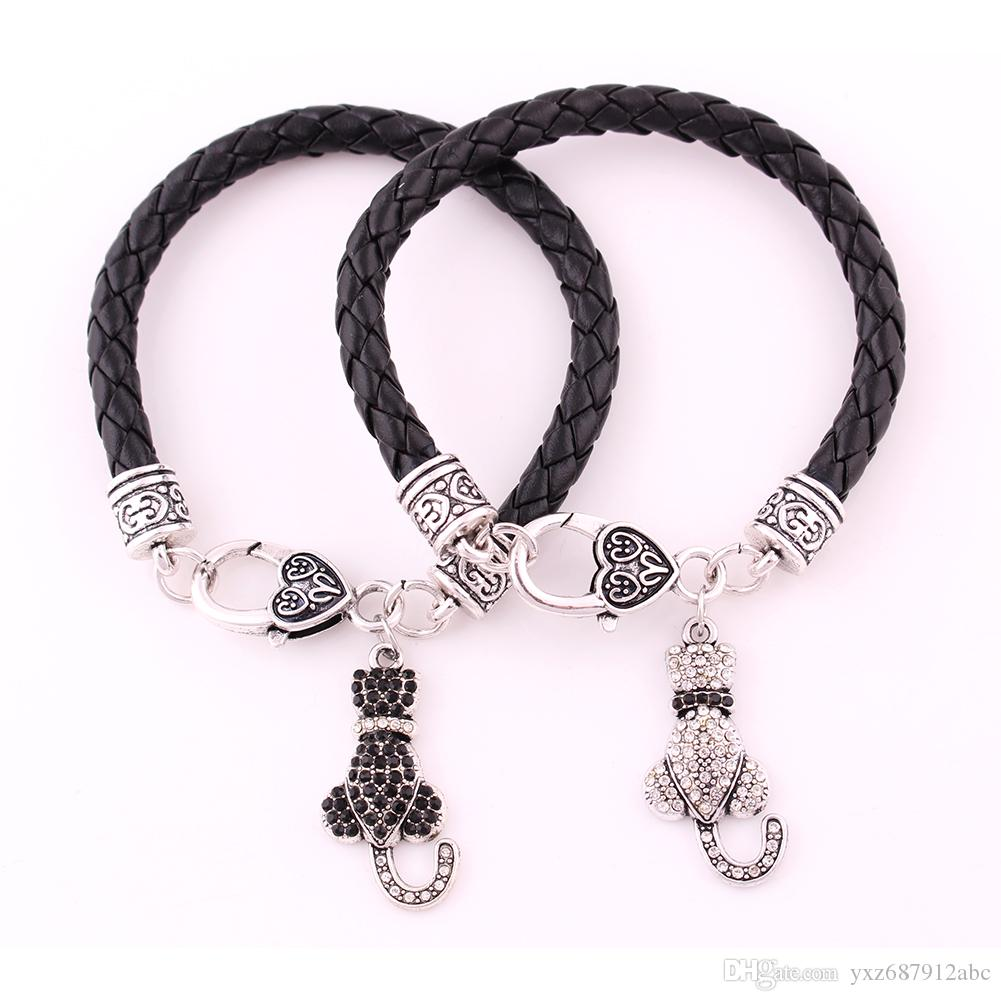 Animal bracelet Lobster Claw 10pcs Antique Silver Wheat Link Bracelet Chain With White And Black Crystal LOVE CAT Pendant Bracelet