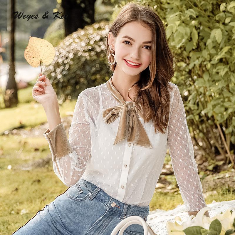 Weyes Kelf Herbst Lace Up Samt Bogen Dot Point Shirt Damen Blusen 2018 Stickerei Damen Lace Langarm Bluse Damen Tops