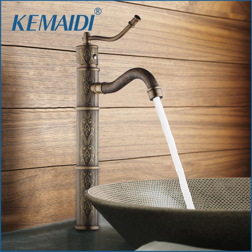 KEMAIDI High Quality Antique Brass Bathroom Sink Basin Faucet Water Tap For Bathroom And Kitchen Mixer Deck Mounted